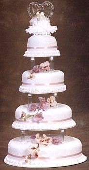grand beau gteau de mariage blanc et rose avec ruban rose ruban parme ruban violet forme - Presentoire Gateaux Mariage